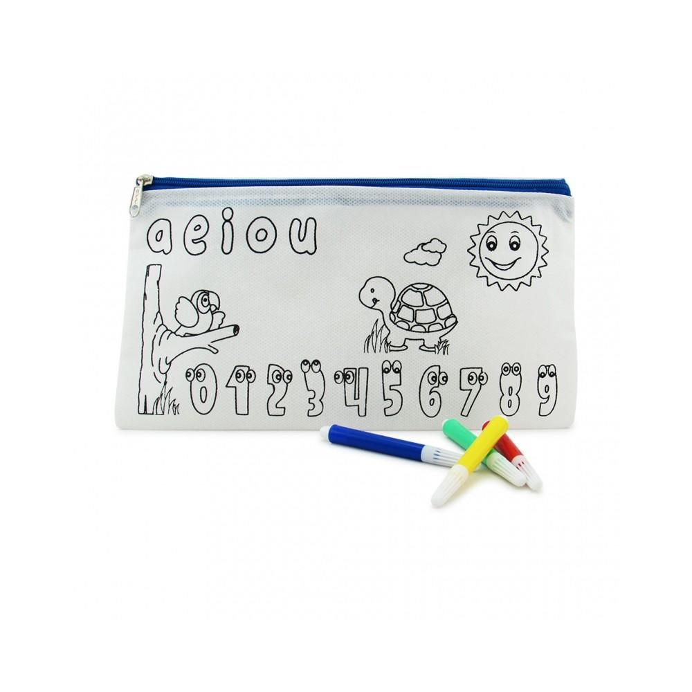 Cartuchera Para Colorear Incluye 4 Marcadores - Azul