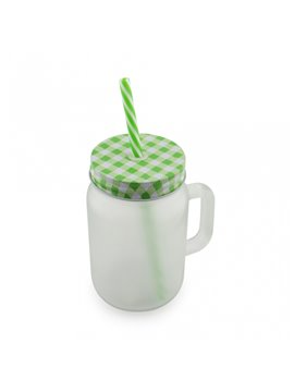Mug Vaso Cristal Opalizado Sublimacion Jar 16 Oz - Verde