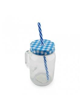 Mug Vaso Cristal Transparente Sublimacion Jar 16 Oz - Azul