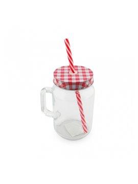 Mug Vaso Cristal Transparente Sublimacion Jar 16 Oz - Rojo