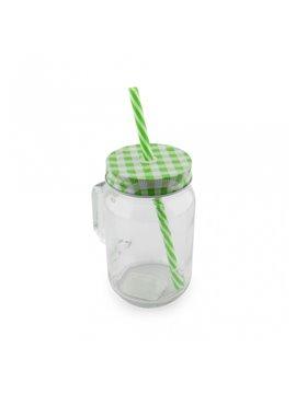 Mug Vaso Cristal Transparente Sublimacion Jar 16 Oz - Verde