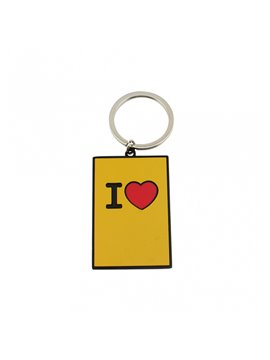 Llavero Metalico con Logo I Love You - Amarillo