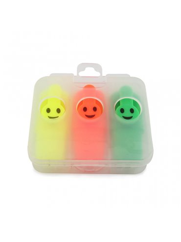 Set de 3 Resaltadores Cara Feliz - Transparente