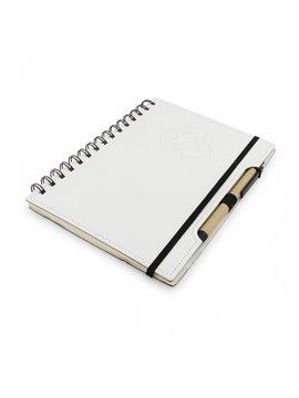 Cuaderno Libreta Agenda Ecologica Tapa Dura Boligrafo - Blanco