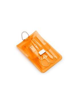 Set de Manicure Neon en Estuche de PVC Cierre Magnetico - Naranja