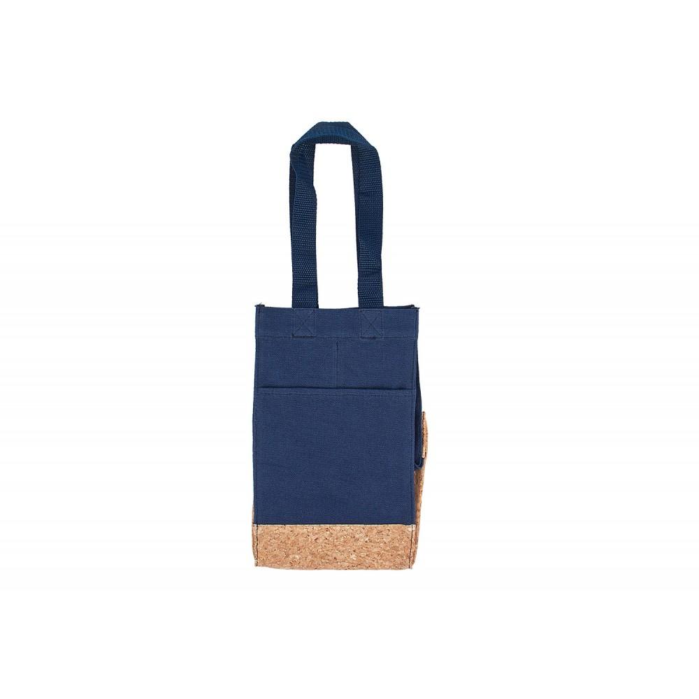 Bolsa Para Vinos Sharon Diseño Corcho - Azul Oscuro