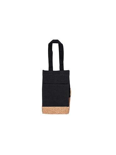 Bolsa Para Vinos Sharon Diseño Corcho - Negro
