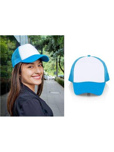 Gorra Cachucha Hanna 5 Paneles Frente Fusionado - Blanco / Azul Neon