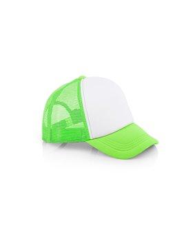 Gorra Cachucha Hanna 5 Paneles Frente Fusionado - Blanco / Verde Neon