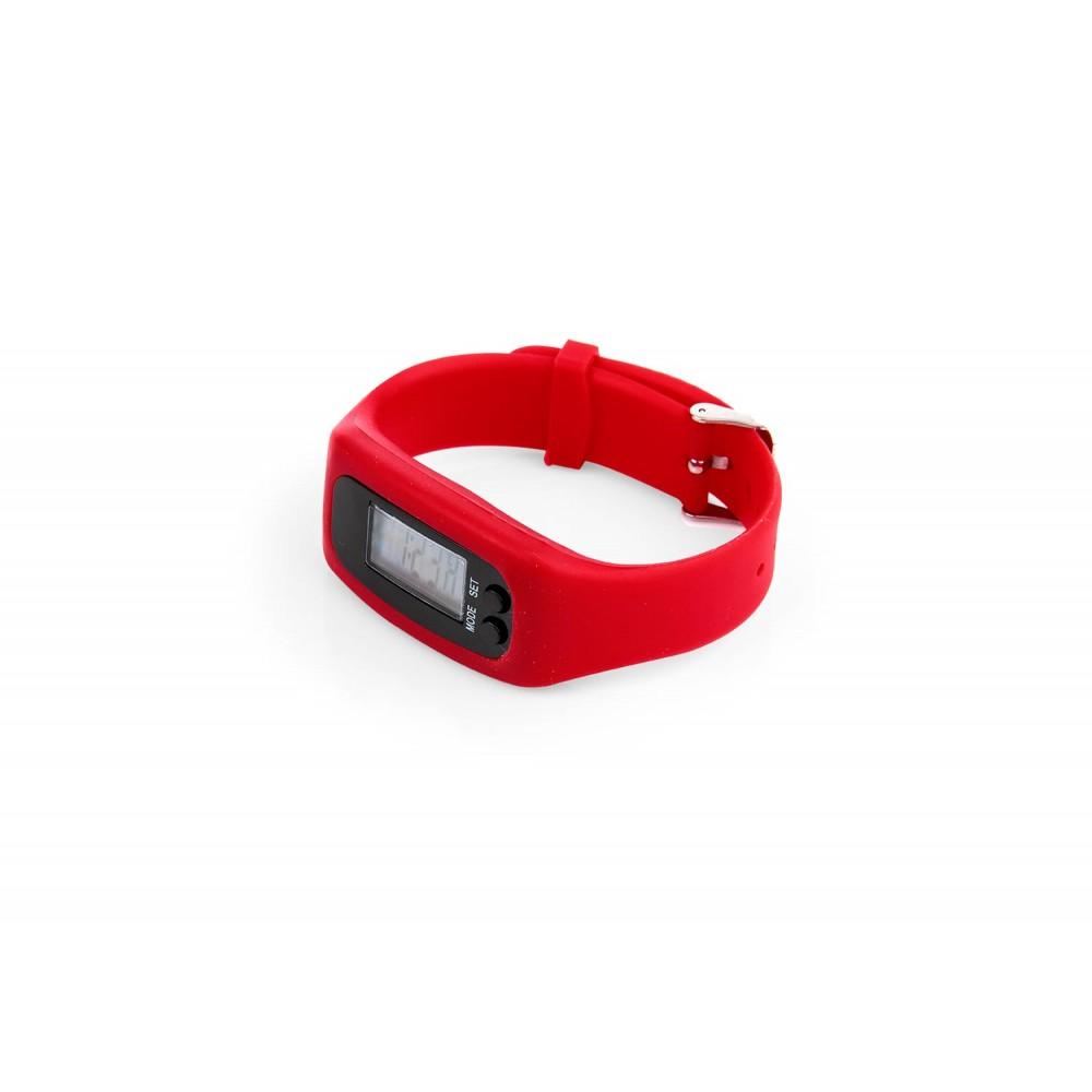 Podometro Digital Walk de Pulsera Con Estuche - Rojo