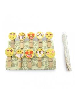 Pinzas Para Fotografias x 10 und y Cuerda Emoji - Natural