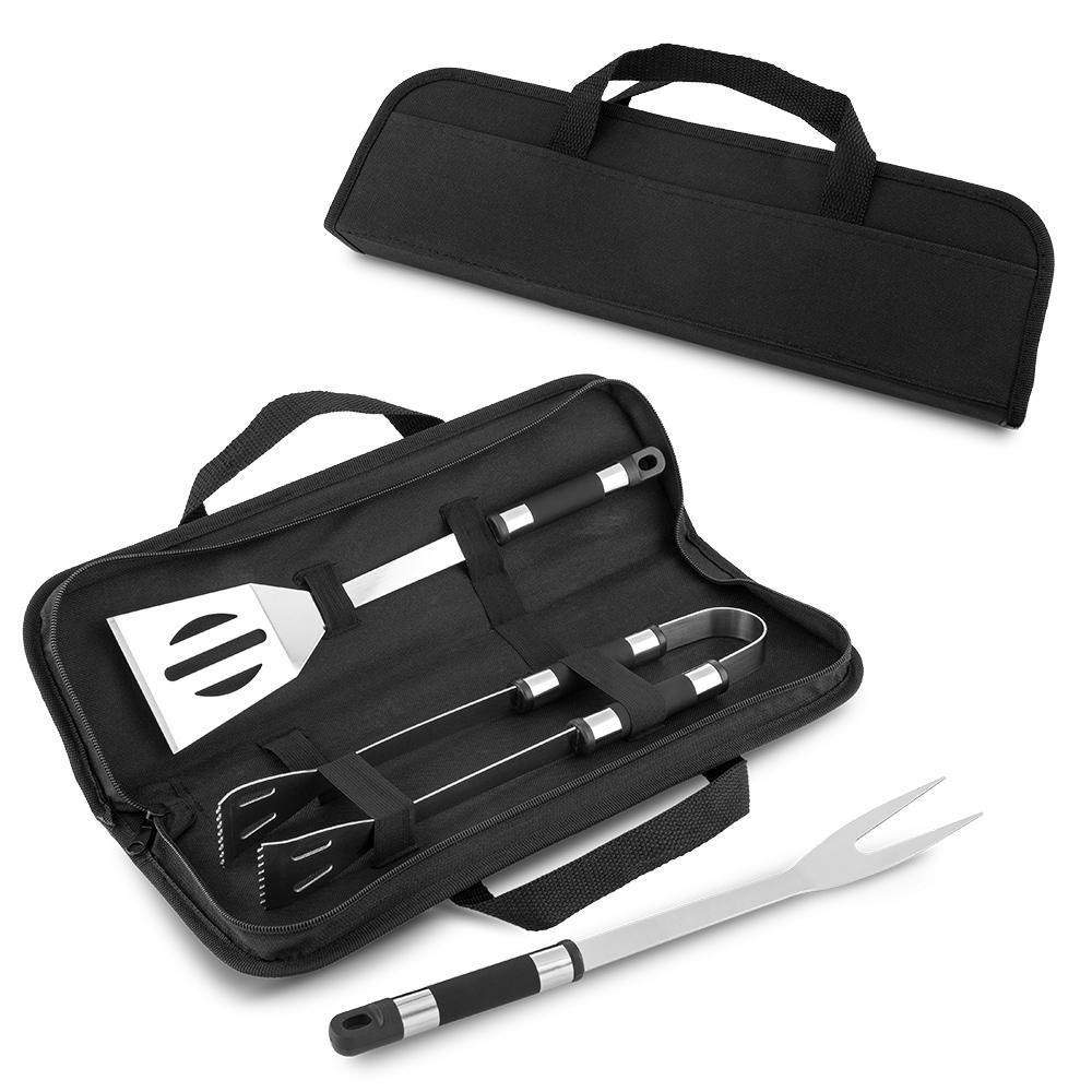 Set BBQ Stanton 3 Utensilios Metalicos - Negro