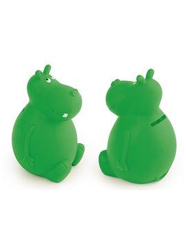 Alcancia Hippo en PVC en forma de tierno hipopotamo - Verde