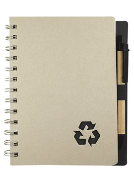 Libreta Cuaderno Argollada Recycle Eco Con Boligrafo - Negro