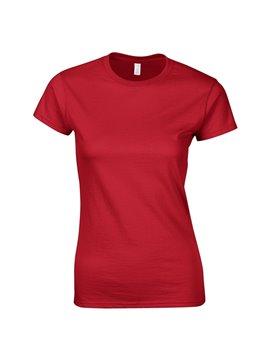 Gildan Camiseta Talla M T Shirt Dama Cuello Redondo - Rojo