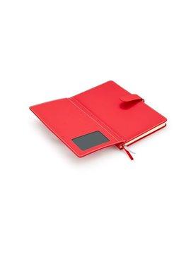 Cuaderno Libreta Wallet Papel Rayado Cubierta en PU - Rojo