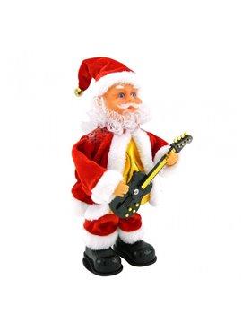 Decoracion Papa Noel Musical Guitarra Toca y Baila Melodia - Rojo