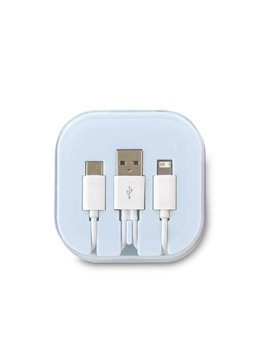 Cable Multicargador Duncan Entrada Iphone Micro 2 en 1 - Blanco