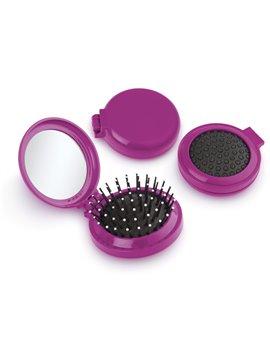 Espejo con cepillo redondo para cabello - Fucsia