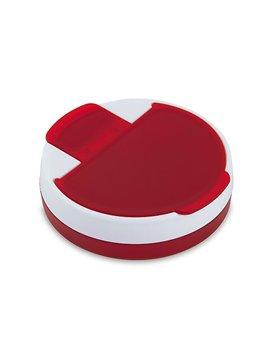 Pastillero Rotary plastico redondo 4 compartimentos - Rojo