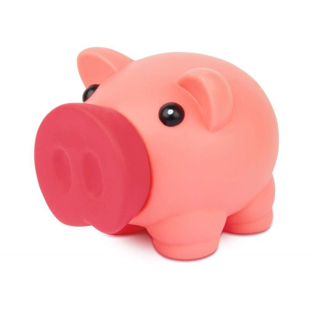 Alcancia Little Piggy Hecha En Pvc Tapa Frontal - Rosado