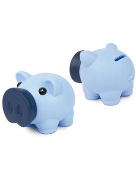 Alcancia Little Piggy Hecha En Pvc Tapa Frontal - Azul