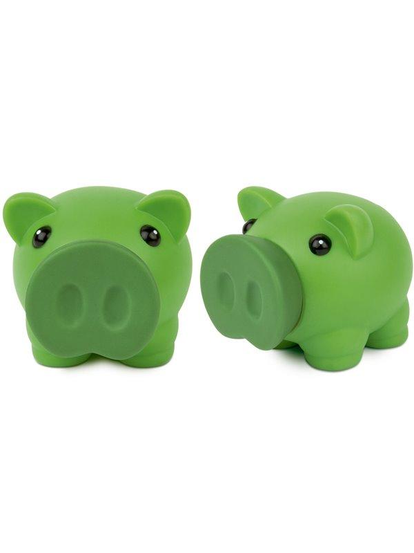 Alcancia Little Piggy Hecha En Pvc Tapa Frontal - Verde