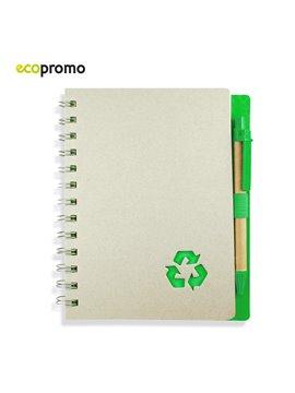 Libreta Cuaderno Argollada Recycle Eco Con Boligrafo - Verde