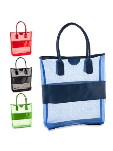 Bolso En Malla Summer Con Franja y Agarraderas En PVC - Azul