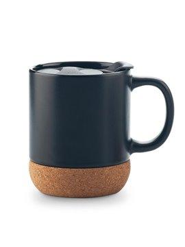 Mug Pocillo en Ceramica Base en Corcho y Tapa 11 Onzas - Negro