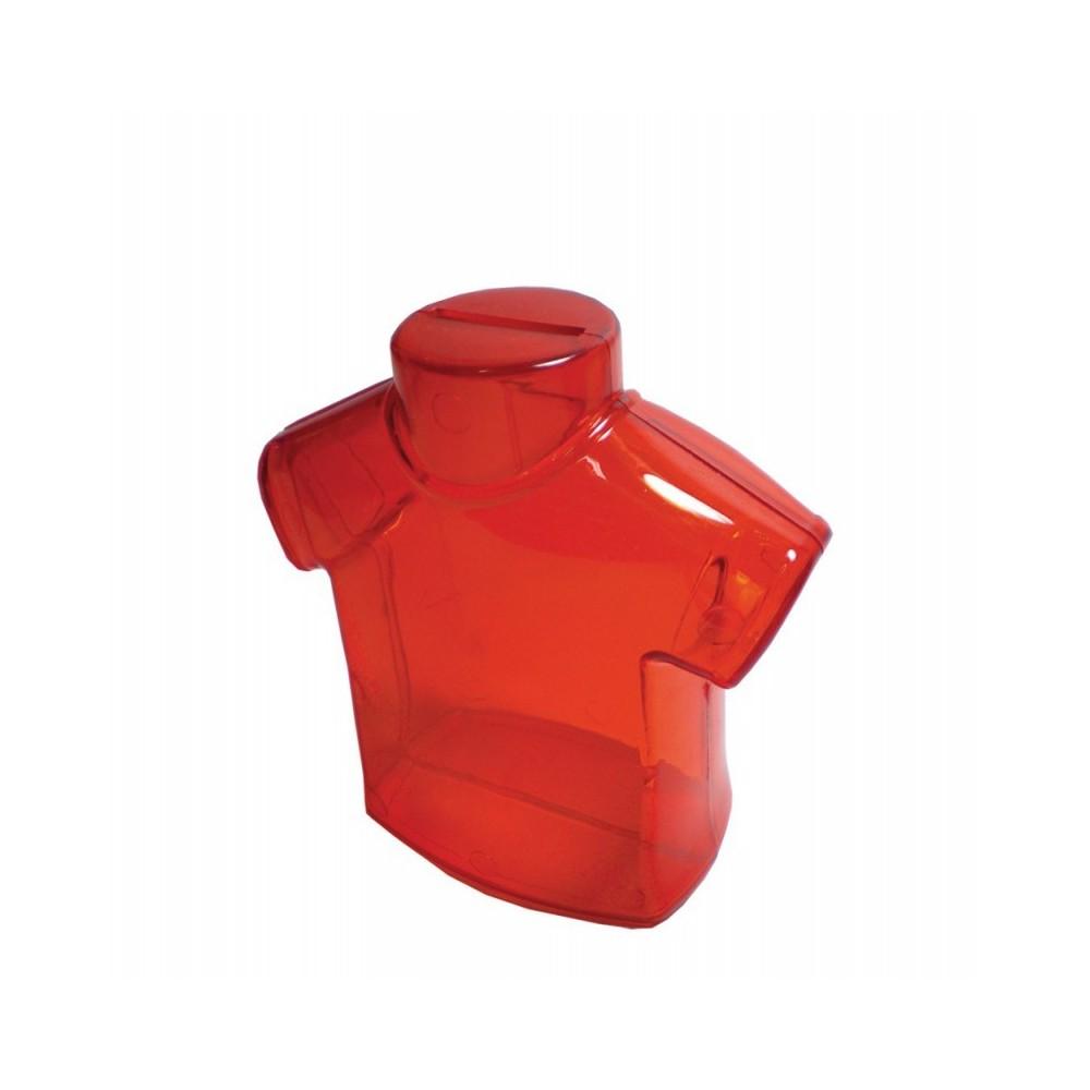 Alcancia Transparente Camiseta en Plastico - Rojo