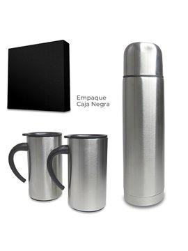 Set De Mugs Con Termo Cascade Metalico 280 ml - Plateado