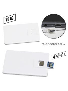 Memoria Usb Credit Card 2 En 1 Plastico - Blanco 16gb