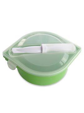 Portacomidas Con Cubiertos Gourmet En Polipropileno - Verde