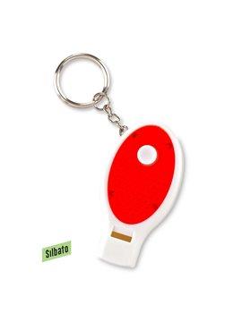 Llavero Linterna Con Pito Shadow Plastico Reflectivo - Rojo