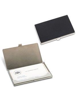 Portatarjetas Metalico Recubrimiento Poliuretano - Plateado-negro