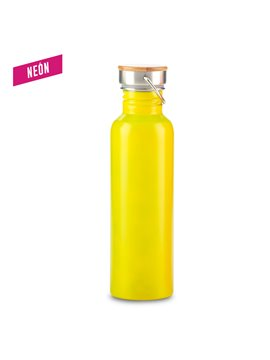 Botella Botilito Metalico Wood 700ml - Amarillo Neon