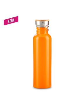 Botella Botilito Metalico Wood 700ml - Naranja Neon