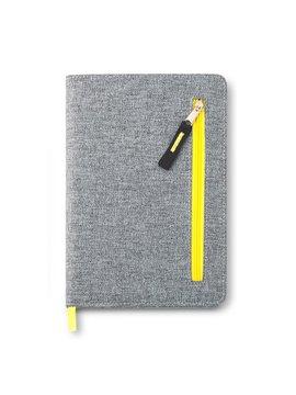 Cuaderno Libreta Zipper Con Bolsillo Frontal - Amarillo
