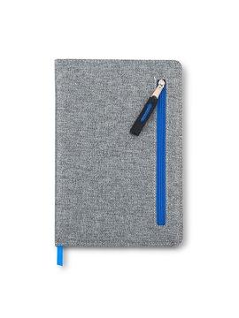 Cuaderno Libreta Zipper Con Bolsillo Frontal - Azul