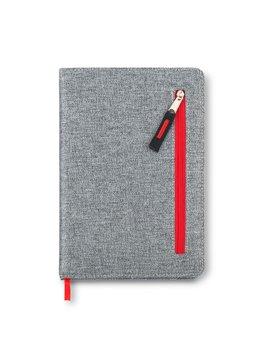 Cuaderno Libreta Zipper Con Bolsillo Frontal - Rojo