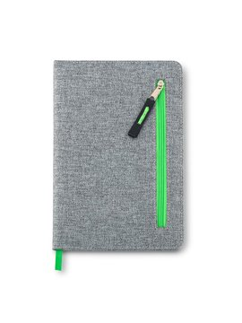 Cuaderno Libreta Zipper Con Bolsillo Frontal - Verde