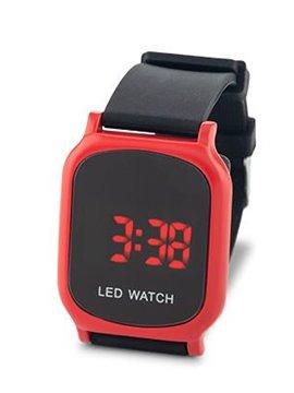 Reloj Digital Glow Manilla En Silicona y Metal - Rojo