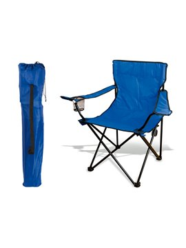 Silla Plegable Con Descansa Brazo Y Portavaso - Azul