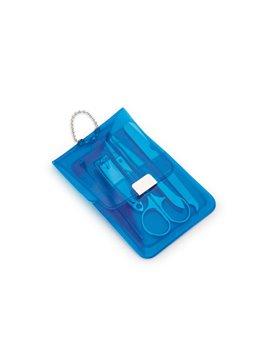 Set Manicure Neon Estuche PVC Cierre Magnetico - Azul