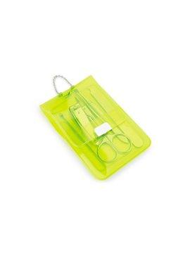 Set Manicure Neon Estuche PVC Cierre Magnetico - Verde