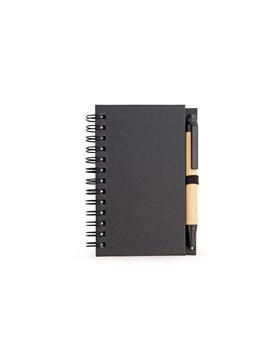 Libreta Cuaderno Ecologico Doble O Boligrafo - Negro