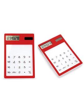 Calculadora Cristal No Necesita Bateria Teclado Transparente - Rojo