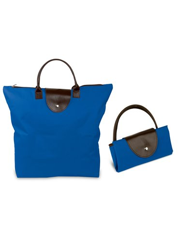 Bolsos Plegables Con Cremallera Hechos En Poliester - Azul