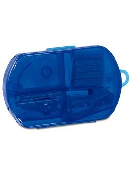Kit de Oficina perforadora cinta cosedora ganchos - Azul